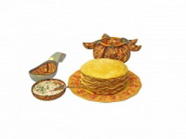Traditional Russian cuisine 3d model