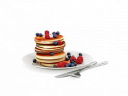 Blueberry pancakes 3d model
