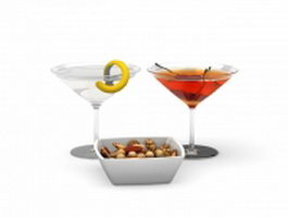 Cocktails and Snacks 3d model