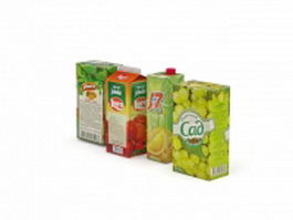 Packed juice drink boxes 3d model