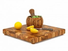 Lemon and cutting board 3d model