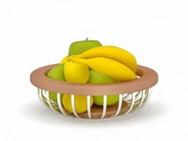 Apple banana basket 3d model