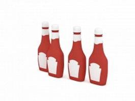 Bottled tomato sauce 3d model