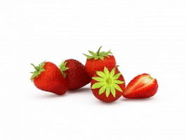 Garden strawberry fruits 3d model