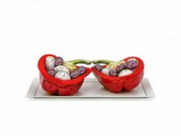 Red bell pepper snacks 3d model