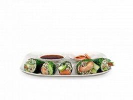 Seafood Sushi platter 3d model