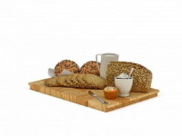 German breakfast breads 3d model