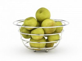 Green apples basket 3d model