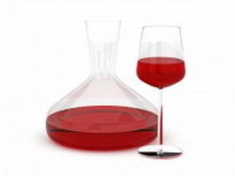 Red wine bottle and glass 3d model