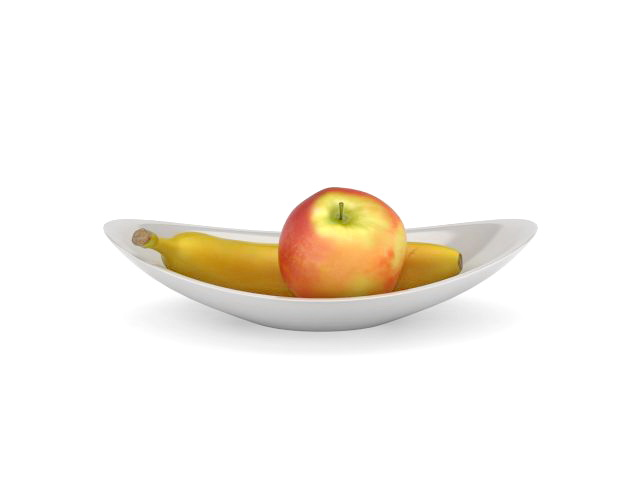 Apple banana bowl 3d model