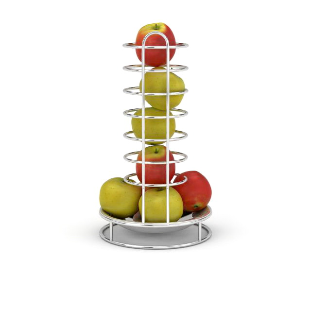 Tiered fruit stand with apples 3d model 3ds max files free download