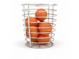 Wire fruit basket with orange 3d model