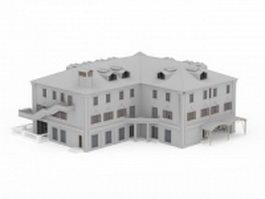 Public school building 3d model