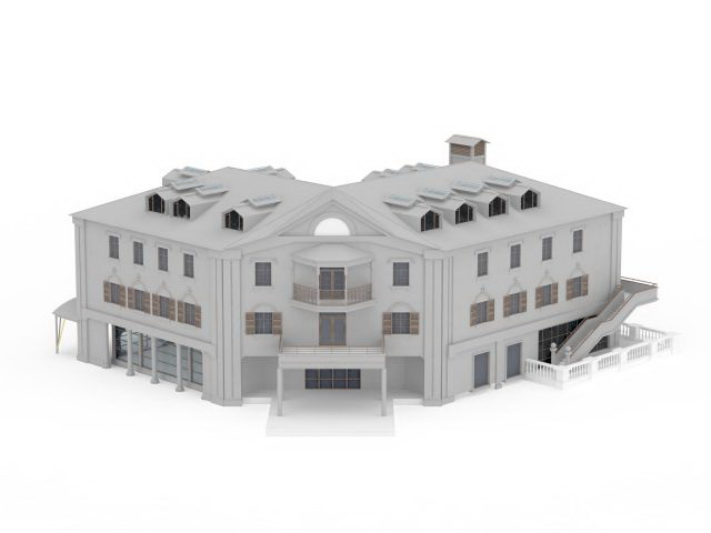 Public school building 3d model 3ds max files free for Architecture et construction 3d