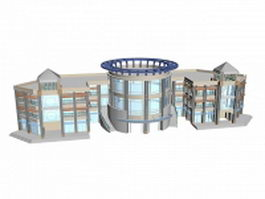 Modern library building 3d model