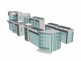 Modern office buildings with glass wall 3d model