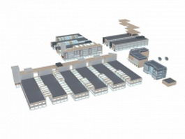 Urban commercial area 3d model