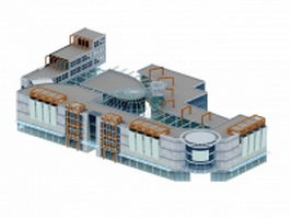 Shopping mall exterior 3d model