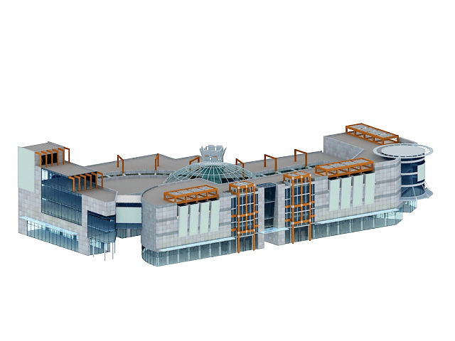 3D Architecture Model Of Shopping Mall Building. Available 3D File Format:  .max (3dsmax) Standard Scanline Renderer. Free Download This 3d Objects And  Put ...