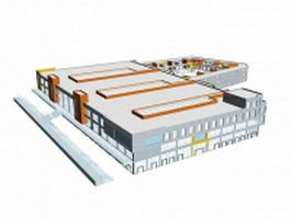 Large supermarket building 3d model