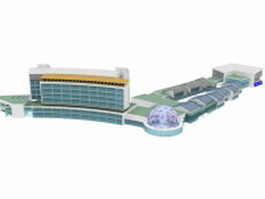 City shopping district 3d model