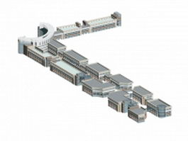 Office building complex architecture 3d model