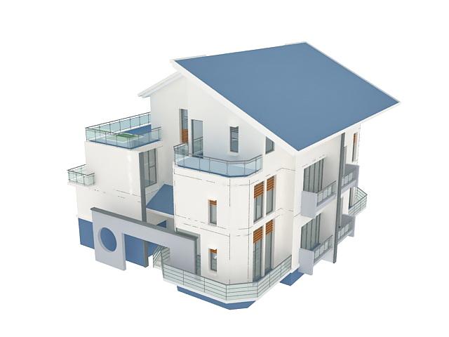 Modern villa 3d model 3ds max files free download for Villas 3d model