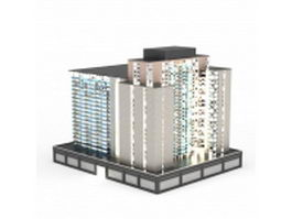 Commercial-residential complex building 3d model