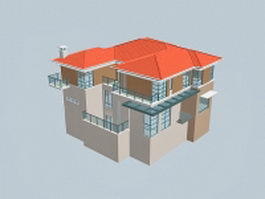 Country villa building 3d model