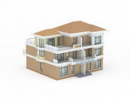 Double terraced house 3d model
