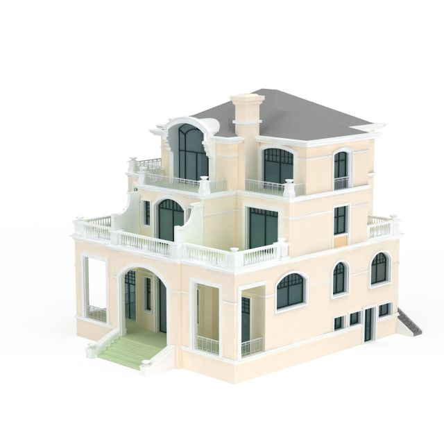 Three storey villa 3d model 3ds max files free download for Villas 3d model