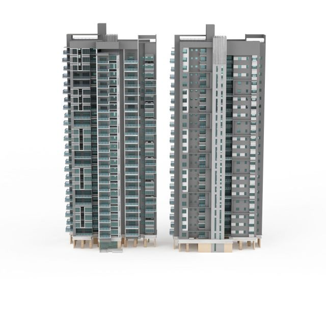Apartment Block Buildings 3d Model 3ds Max Files Free