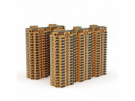 Block of flats apartment buildings 3d model