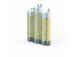 High rise flat apartment buildings 3d model