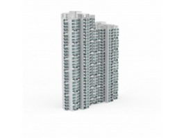 Modern apartment complex 3d model