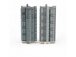 Two tower blocks apartment 3d model