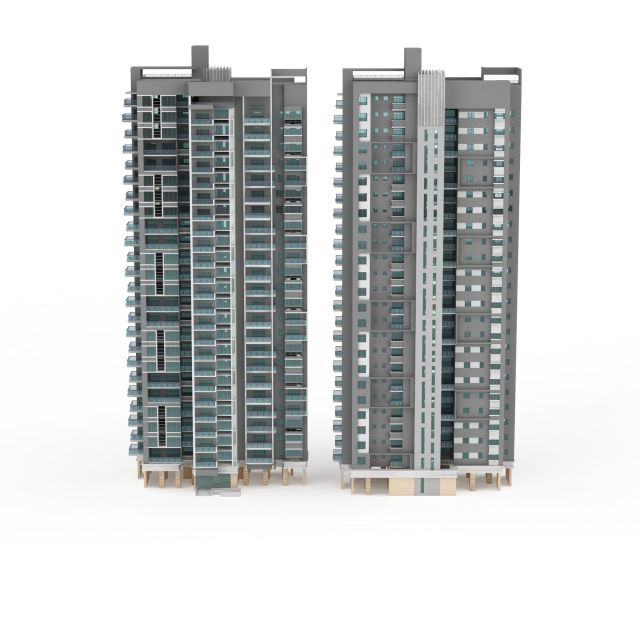Dual 24 Story Apartment Towers Debut At 8th Spring: Two Tower Blocks Apartment 3d Model 3ds Max Files Free