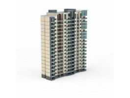 Apartment building from residential area 3d model