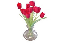 Red tulip in vase 3d model