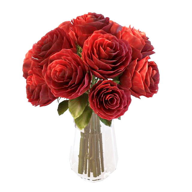 Red Roses Flower In Vase 3d Model 3ds Max Files Free Download
