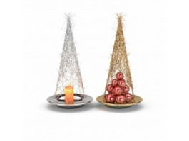 Christmas ornament ball and candle 3d model