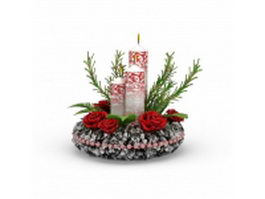 Candle and flower Christmas ornament 3d model