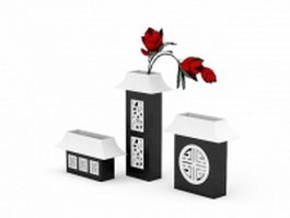 Chinese antique square vases 3d model