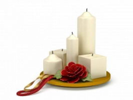 Decorative candles with flower 3d model