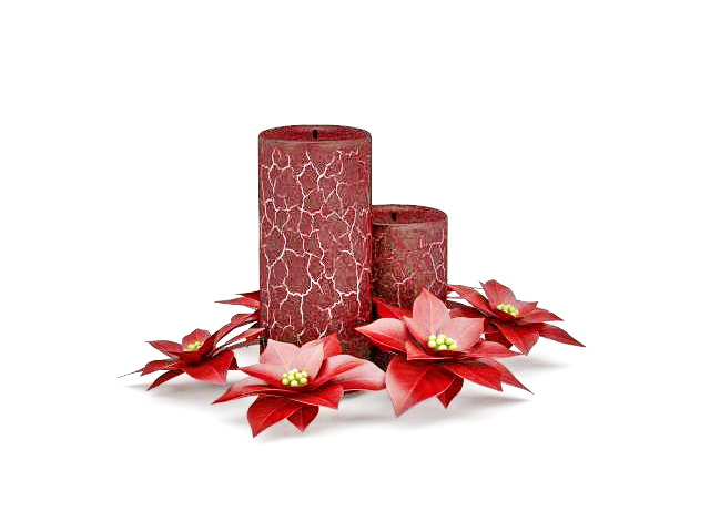 Decorative Candle With Flowers 3d Model 3ds Max Files Free Download