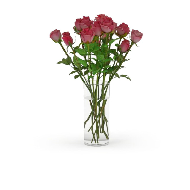 Roses in glass vase 3d rendering