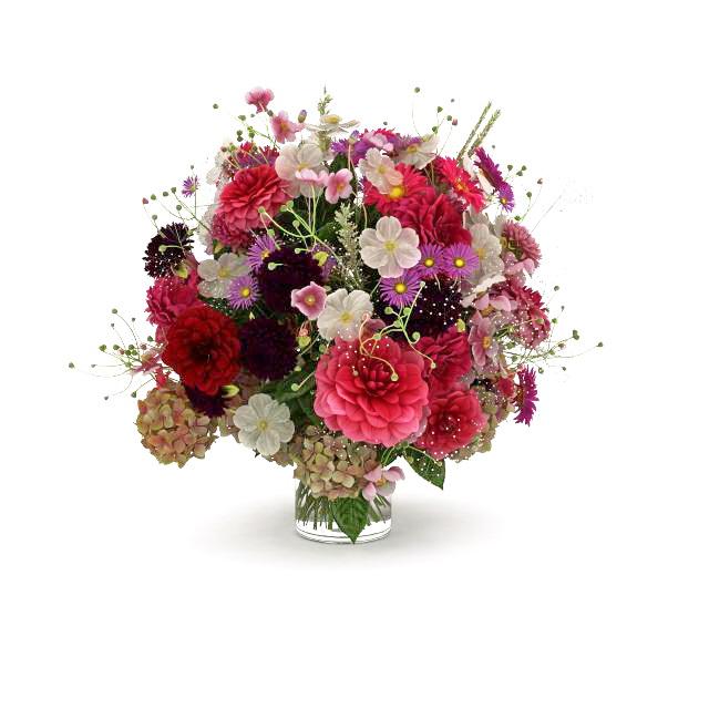 Bouquet Of Flowers In Glass Vase 3d Model 3ds Max Files Free Download Modeling 32873 On Cadnav