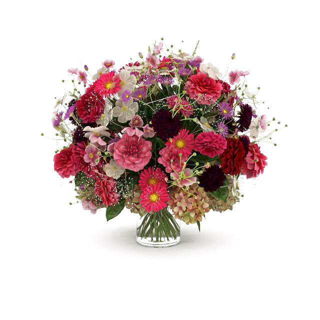 Bouquet Of Flowers In Glass Vase 3d Model 3ds Max Files Free