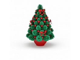 Artificial Christmas tree in pot 3d model