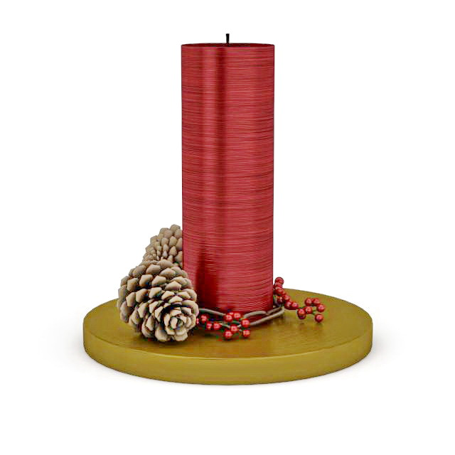Christmas Candle And Pine Cone 3d Model 3ds Max Files Free